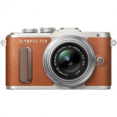 Aparat foto mirrorless Olympus E-PL8, Maro + obiectiv EZ-M1442 14-42mm, Argintiu