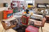 Masă de bar Mahindra, 110x120x120 cm, lemn/metal, rosu/multicolor
