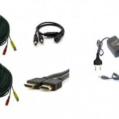 Kit accesorii sisteme de supraveghere pentru 2 camere, cabluri gata mufate, cablu HDMI, sursa alimentare, splitter SafetyGuard Surveillance
