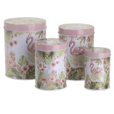 Set 4 cutii depozitare metalice Flamingo