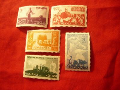 Serie Romania 1946 - Reforma Agrara , 5 valori foto