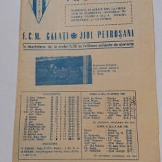Program meci fotbal FCM GALATI - JIUL PETROSANI (19.04.1981)