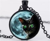 Pandantiv cu lant pisica neagra cu ochi verzi
