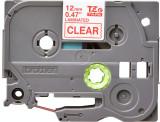 Banda continua laminata Brother TZE132 12mm 8m Rosu pe Transparent