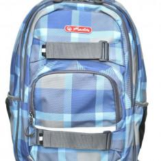 Rucsac Herlitz Skater cu doua compartimente, compartiment pentru laptop si tableta, motiv Blue Checkers