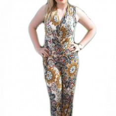 Salopeta cu pantalon lung, de vara, cu imprimeu bleumarin-maro