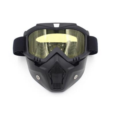 Masca protectie fata, plastic dur + ochelari ski, lentila galbena, model GD03 foto