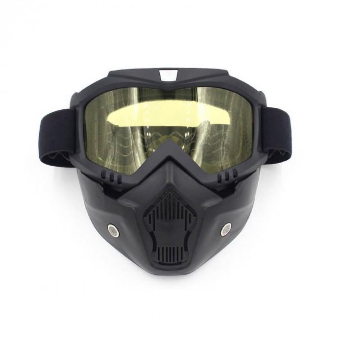 Masca protectie fata, plastic dur + ochelari ski, lentila galbena, model GD03