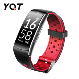 Bratara fitness inteligenta YQT Q8 cu functie de monitorizare ritm cardiac, Tensiune arteriala, Monitorizare somn, Pedometru, Notificari, Negru - Rosu