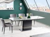 Set masa extensibila din ceramica, MDF si metal Kipp Gri / Negru + 4 scaune tapitate cu stofa Camile Gri / Negru, L160-210xl90xH76 cm