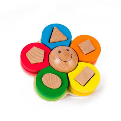 Jucarie din lemn educativa sortator in forma de floare foto
