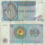 1976 ( 30 VI ) , 10 zaïres ( P-23a.4 ) - Zair