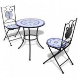VidaXL Set mobilier bistro, 3 piese, albastru/alb, plăci ceramice