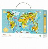 Cumpara ieftin Puzzle - Harta animalelor lumii, 80 piese, Dodo