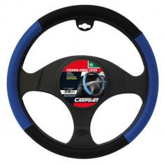 Husa volan Carpoint X-treme Mesh, material textil, culoare albastru si negru, diametru 37-39cm