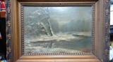 Ion Marinescu-Vâlsan 1866-1936 Peisaj de iarna Ulei pe carton 35/25cm, Peisaje, Altul