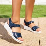 Sandale cu talpa ortopedica dama Piele albastru inchis Sandelia