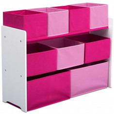 Organizator jucarii cu cadru din lemn Deluxe White Pink, Multicolor