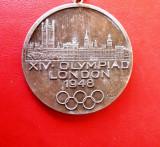 Placheta    comemorativa   olimpica Londra   1948