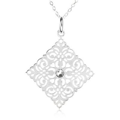 Colier din argint 925 - lanț, pătrat sculptat ornamental, zirconiu foto