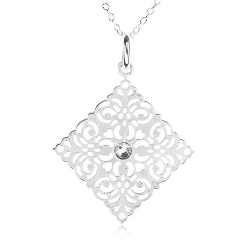 Colier din argint 925 - lanț, pătrat sculptat ornamental, zirconiu