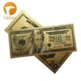 SUA/USA Bancnota 20 DOLLARS -  Bancnota placata cu aur - COLOR