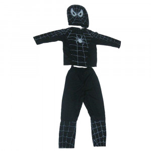 Costum Spiderman Negru pentru copii marimea L 7 9 ani