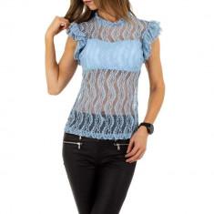Bluza moderna, albastra, din dantela, L, M, S, Albastru