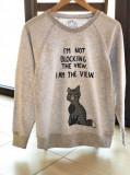 Bluza pictata manual cu Pisica Aroganta