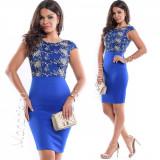 Rochie de ocazie scurta stramta albastra cu corset dantelat