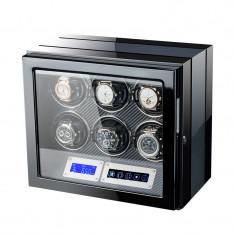 Cutie pentru intors ceasuri automatice iUni, Luxury Watch Winder 6 Carbon