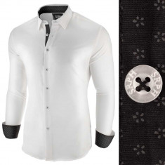 Camasa pentru barbati, alb negru, slim fit, casual - Business Class Extra, L, M, XL, XXL, Maneca lunga