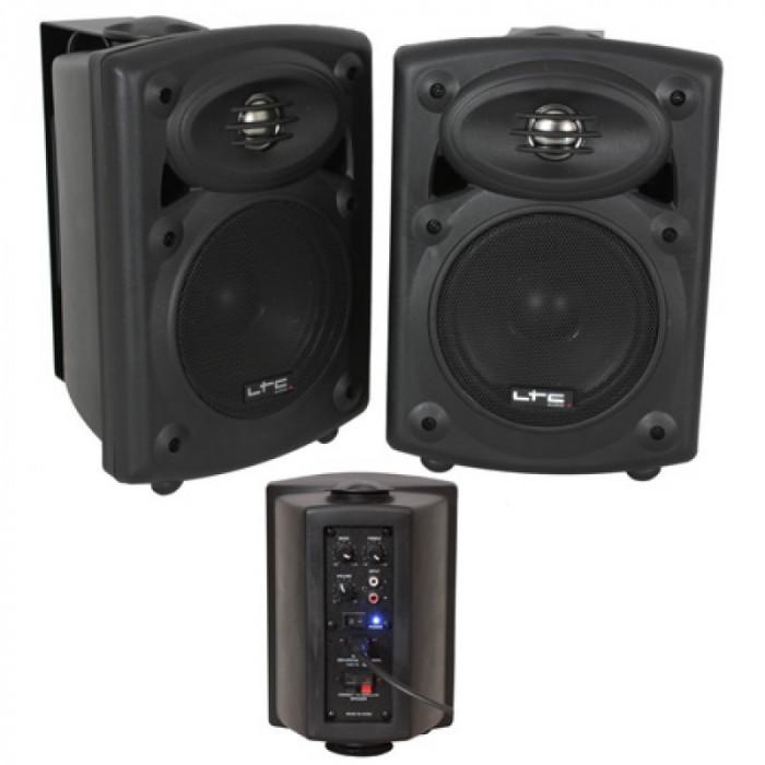 Set 2 boxe monitor, RCA, Bluetooth, amplificator integrat, 80 W