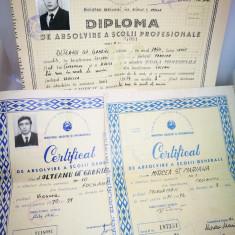 3 Diplome vechi. Anii '70. Diploma de absolvire a scolii profesionale.
