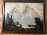 Tablou,pictura in ulei pe lemn,peisaj alpin,rama din lemn