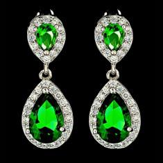 Cercei placati cu Aur 18K si Diamante, Afrodita Classic Green