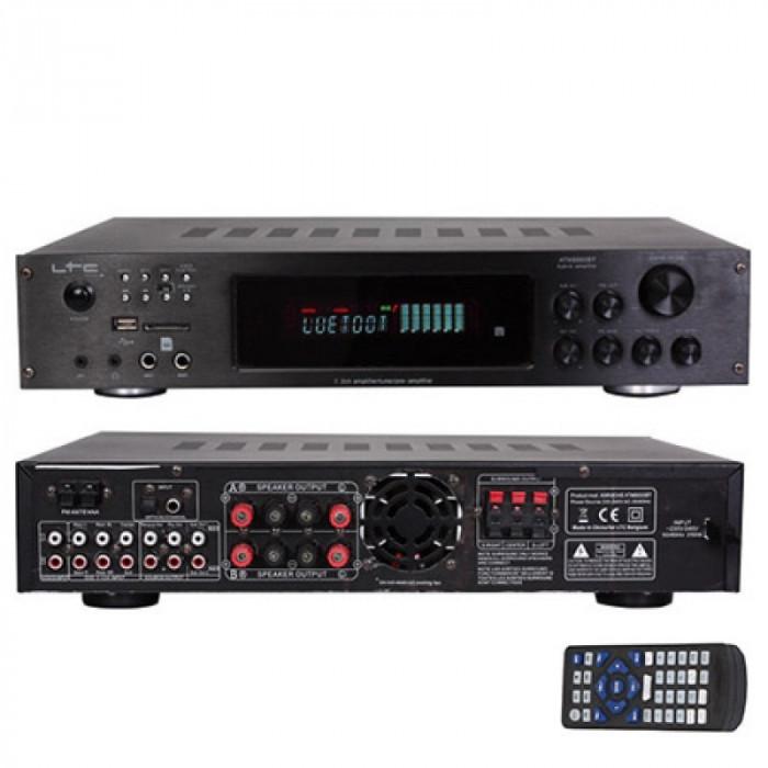 Amplificator stereo LTC echipat cu tuner digital, posibilitate de redare MP3 de pe USB, SD