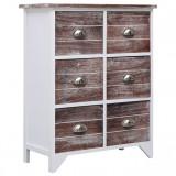Cumpara ieftin Dulap lateral, 6 sertare, maro, 60x30x75 cm, lemn paulownia