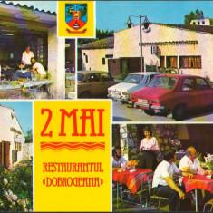 "CPI B12684 CARTE POSTALA - 2 MAI. RESTAURANTUL ""DOBROGEANA"", DACIA 1300"