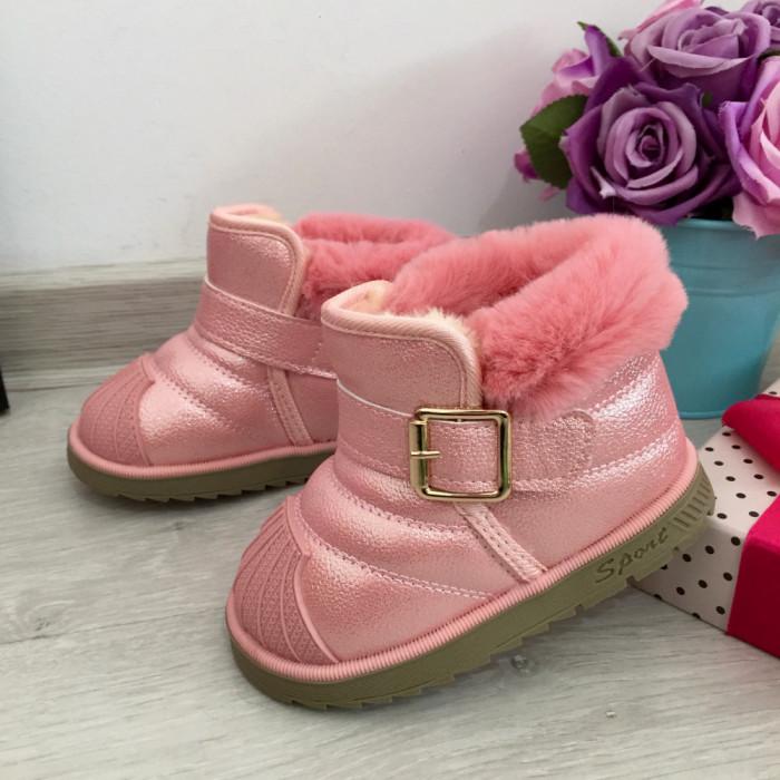 Cizme roz imblanite cu catarama ugg pt copii fetite bebe 22 cod 0714