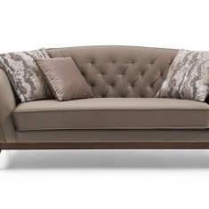 Canapea fixa tapitata cu stofa si piele ecologica, 2 locuri Daniela Maro, l188xA92xH80 cm