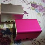 Boxa stereo 6W jack 3.5mm roza, gri, albastra