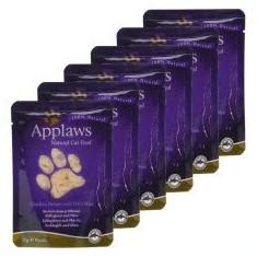 Pliculeț APPLAWS Cat, pui și orez sălbatic 6 x 70g