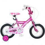 Bicicleta Copii 12 Inch Spark, Bonanza, G1202B, Cadru Otel, Roti Ajutatoare, Varsta 2-4 Ani, Roz/Alb