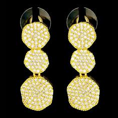 Cercei placati cu Aur 18K si Diamante, Anastasia Gold