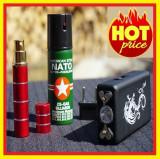 Set Autoaparare Lanterna cu Electrosoc+Spray ruj+Spray Nato