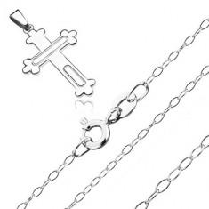 Colier argint 925 - model cruce trifoi mărunt și cercuri sculptate, lanț lucios