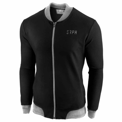 Bluza pentru barbati neagra cu fermoar. slim fit Smobe foto