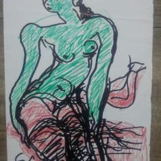 Nud// desen in carioca pe hartie de artistul plastic Dan Gavris