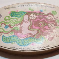 Cutie veche comunista de colectie CERBUL DE AUR Bomboane fine de ciocolata 1970